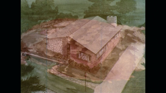 UNITED STATES: 1970s: drawing of house and garden.