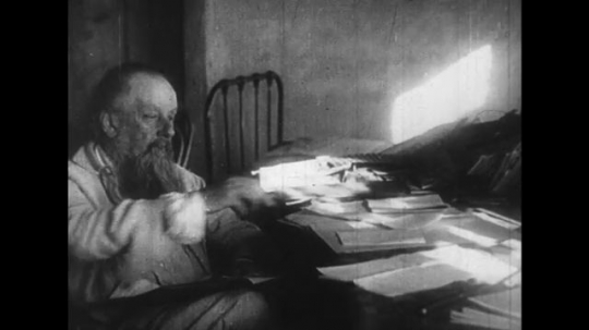 RUSSIA 1950s: Konstantin Tsiolkovsky writes literature regarding the potential future of space exploration with the invention of rockets.