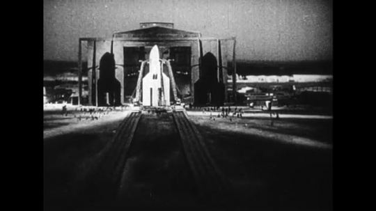 UNITED STATES 1950s: A countdown is held before a German rocket is launched into space.