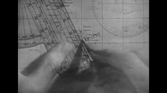 UNITED STATES 1940s: Close up, hand marks on map with ruler / Close up of watch / Gunner in turret / Low angle view of gunner / Gunner in turret / Operator with radar equipment.
