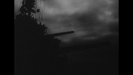 UNITED STATES 1940s: Silhouette of ship at night / Soldiers with radar equipment / Radar waves on screen / Soldier speaks into microphone / Radar waves on screen.