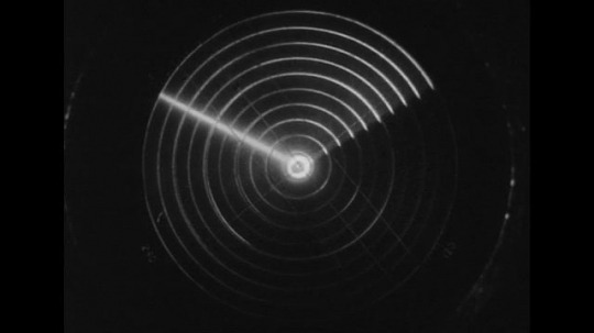 UNITED STATES 1940s: Close up of radar screen / Animation of radar waves deflected off land.