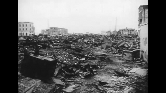 UNITED STATES 1940s: Views of destruction in Japan after Allied attacks.