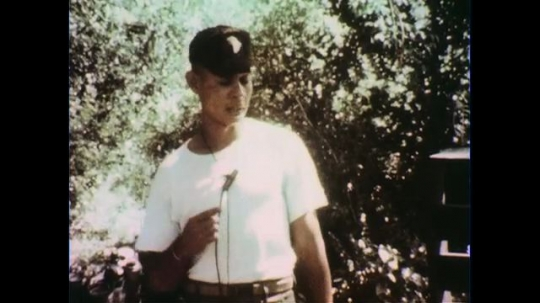 VIETNAM 1960s: Officer speaking / Officer in front of soldiers / Officer speaks / Seated soldiers.