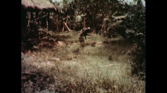 VIETNAM 1960s: Long shot, soldier places grenade and runs for cover, camera lowers, explosion / Soldiers exit structure.