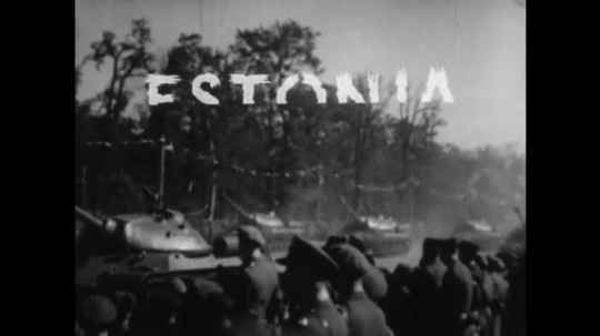 UNITED STATES 1950s: Communist army tearing through Estonia, Latvia, and Lithuania as seen through newspaper headlines.