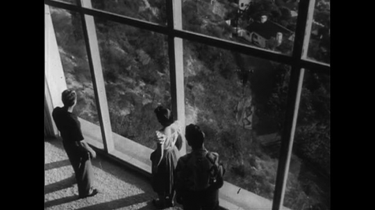 UNITED STATES CIRCA 1951 : A man points to a view from a highly-elevated area to a couple.