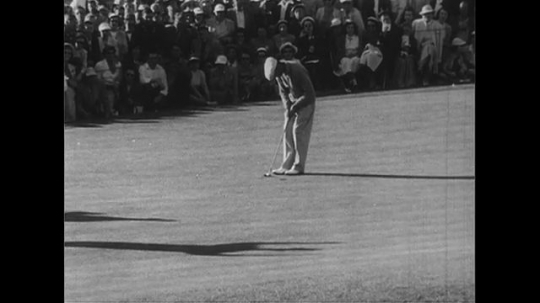 UNITED STATES 1950s: Ben Hogan hits ball in hole, shakes hands with Skee Riegel / Hogan, Riegel and Bobby Jones / Hogan smiles at camera.