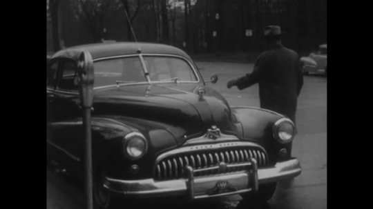 UNITED STATES, 1940s: Man walks up to car on street and opens door. Three people share magazine in house. Minister addresses congregation. Newly wed couple leave church.