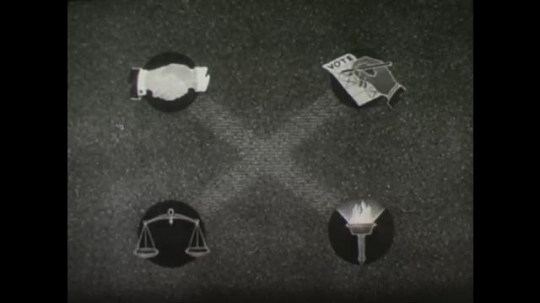United States, 1940s: Pictures showing the key components to a democracy. Symbols for enlightenment and a balanced economy.