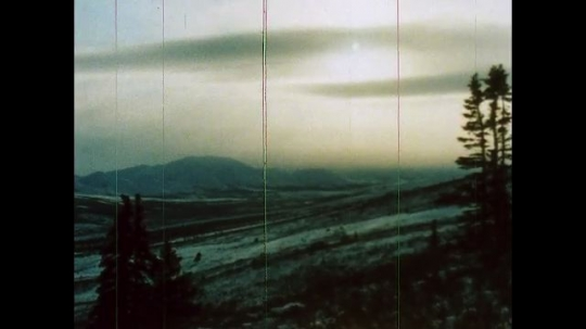 ALASKA, UNITED STATES: 1980s: winter sun over mountain range. Snow falling. Caribou in snow
