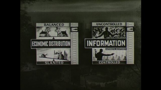 United States, 1940s: Image showing scales for information and economic distribution. Image showing balance for power and respect.