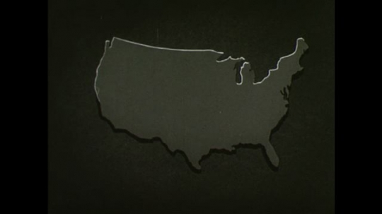 United States, 1940s: Animation showing sliding scales across a nation.