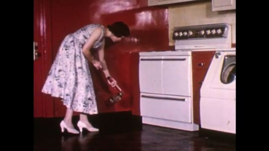 UNITED STATES, 1940s: Lady sprays kitchen with insect repellent. Lady sprays inside of cupboards with insecticide.