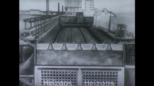 UNITED STATES, 1940s: Cross section animation of coke processing plant. Animation of hot gas escaping from compartment. Label showing temperature of escaping gas