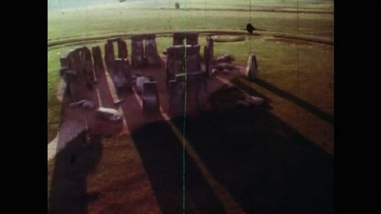 View of Stone Circle from Above. Shadows of Rocks at Stonehenge. Rocks at Stonehenge Stone Circle