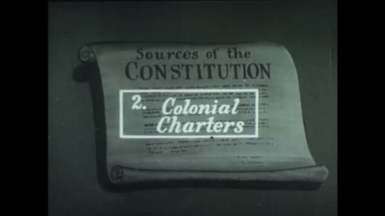 UNITED STATES 1940s: Animation of constitution, article zooms forward / People in period costume on ship / People in period costume praying on ship.