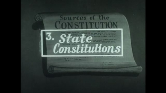 UNITED STATES 1940s: Animation of constitution, article zooms forward / Hand sorts copies of state constitutions / Animation of constitution, article zooms forward / Soldier plays bugle.
