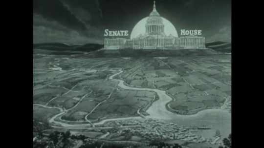 UNITED STATES 1940s: Animation of map, Capitol Building, lines form toward senate and house / View of Capitol Building with flag.