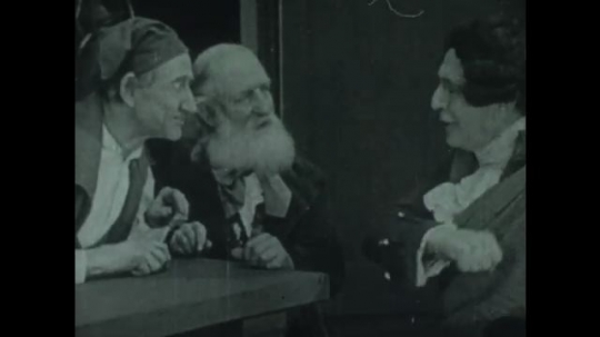 UNITED STATES 1940s: Men in period costume talking / Animation of Bill of Rights, zoom in.