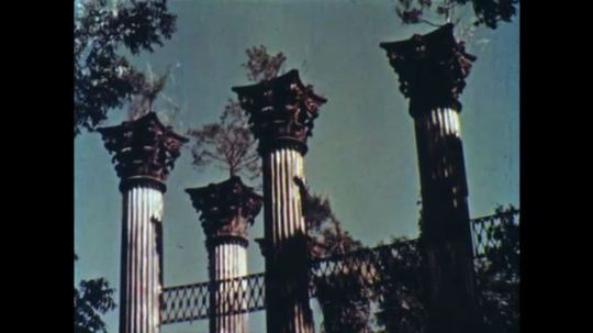 UNITED STATES: 1960s: Pillars on abandoned and derelict building.