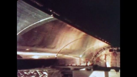 UNITED STATES: 1981: Space shuttle lid door opening during flight in space.