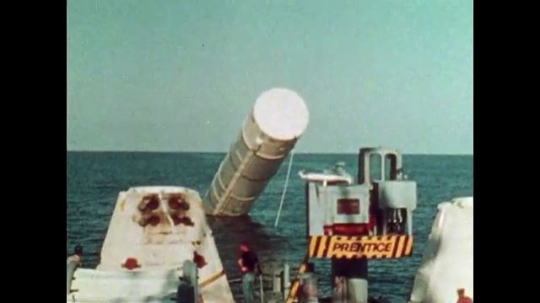 UNITED STATES: 1981: Equipment being launched into ocean during space flight.