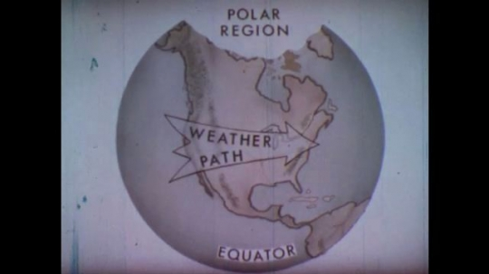UNITED STATES: 1950s. Drawing of the Earth, with polar region, equator, and weather path labeled. Man passes hand over polar regions marked on a picture.