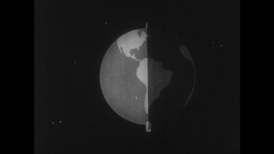 UNITED STATES 1960s: Animation of Earth, Earth divides in half, rotates / View of sun, words on screen.