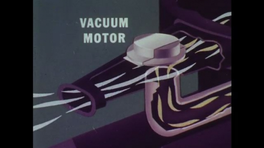 UNITED STATES: 1960s: vacuum motor and gate valve in engine of car. Animation of fuel evaporation in car.