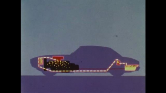 UNITED STATES: 1960s:  Animation of fuel evaporation in car. Man works on car components.