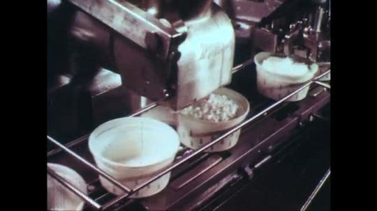 UNITED STATES: 1950s: dairy produce and packaging in factory. Cows in field.