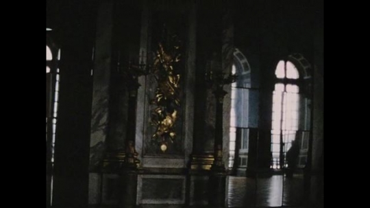 UNITED STATES 1960s: Pan across interior room at Palace of Versailles.
