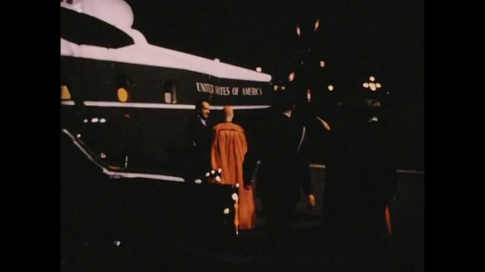 UNITED STATES 1960s: Nixon with officials next to Army One helicopter, zoom in / Nixon shakes hands with Catholic leaders / Nixon speaks with Catholic leader.
