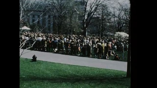 UNITED STATES 1960s: Crowd outside White House, zoom in on crowd / Man ducks under tree, smiles at camera.
