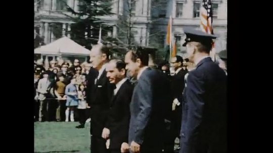 UNITED STATES 1960s: Richard Nixon poses with King Hussein outside White House / Nixon and Hussein shake hands / Close up, Nixon and Hussein.