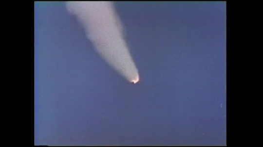 UNITED STATES: 1980s: space ship in sky after launch.