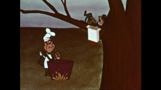 UNITED STATES: 1960s: cartoon chef makes chips for man in tree.