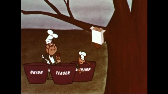 UNITED STATES: 1960s: cartoon chef mixes flavors for chips. Cartoon man in pot.