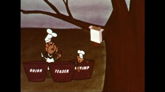 UNITED STATES: 1960s: cartoon chef talks to assistant chef.