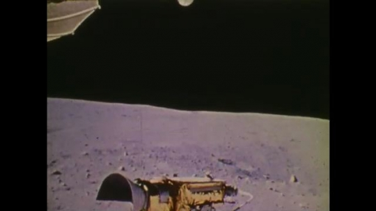 1970s: UNITED STATES: view from moon surface.