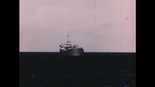 PACIFIC OCEAN: 1940s: research vessel at sea. Fish in sea. University building. Specimens of marine life.