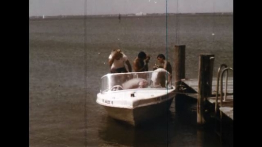 UNITED STATES: 1960s: man falls from boat. Boat moored to jetty. Child falls into water from boat