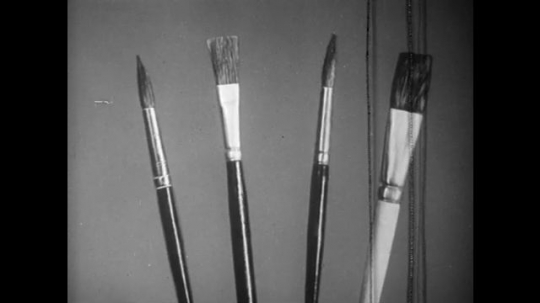 UNITED STATES: 1940s: animated brushes. Cartoon character paint brushes with hair. Bristles fall from brush.