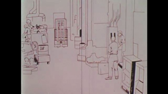 UNITED STATES: 1970s: animation of hazards in workplace. Man runs in front of forklift truck.
