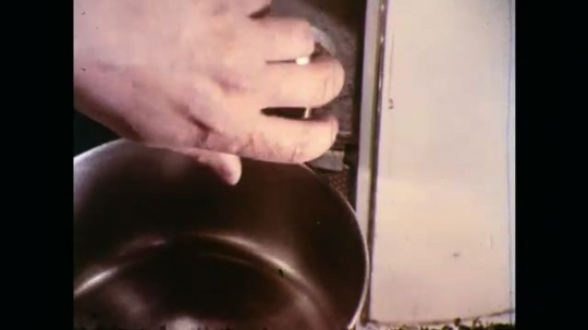 UNITED STATES: 1970s: hand fills pan with hot water. Lady peels potatoes.