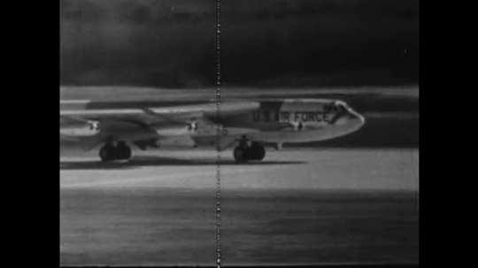UNITED STATES: 1960S: US Air force plane B52 bomber takes off from runway.