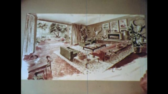 UNITED STATES: 1960s: picture of room in house. Lady nods head. Man shows pictures to lady.