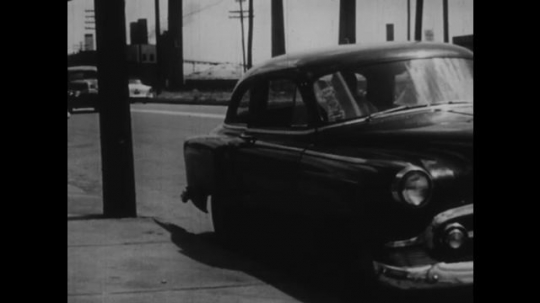 1950s: UNITED STATES: man gets out of car with dog. Man takes dog to animal hospital