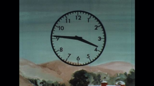 UNITED STATES: 1960s: animation of cloud and fallout over house. Animation of radiation rate and clock.